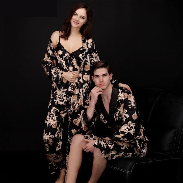 Luxury Paisley Pattern Kimono Robes Men\'s Silk Satin Nightgown Women ...