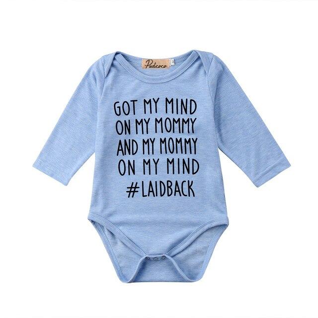 af0535322 Cool Baby Girls Boys Infant Bodysuit Letter Print cotton Summer Autumn  Jumpsuit Clothes Outfit Long sleeve blue Pudcoco Bodysuit