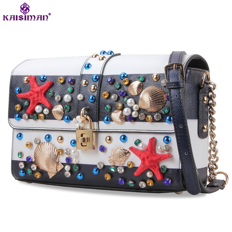 Goddess Luxury Brand Blue and White Color Navy Style Women Tote Shoulder Bags Female Handbag Gemstone