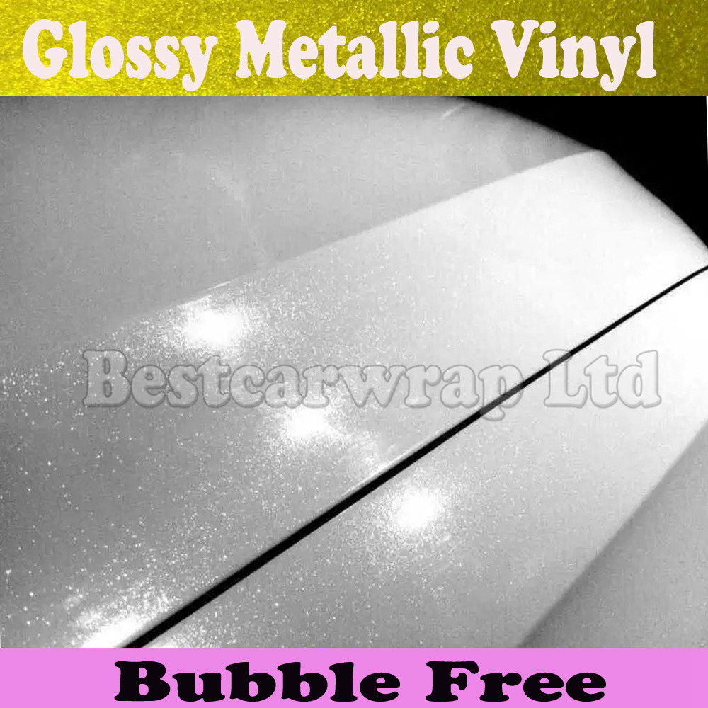 Glossy metallic white pearl Vinyl Wrap Car Wrapping Styling foil With Air Bubble Free pearlescent sparkle Film 1.52*20M/Roll