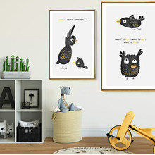 Posters And Prints Canvas Painting Wall Art Picture For Children's Room Bedroom Funny Cute Nordic Cartoon Crow Home Decoration(China)