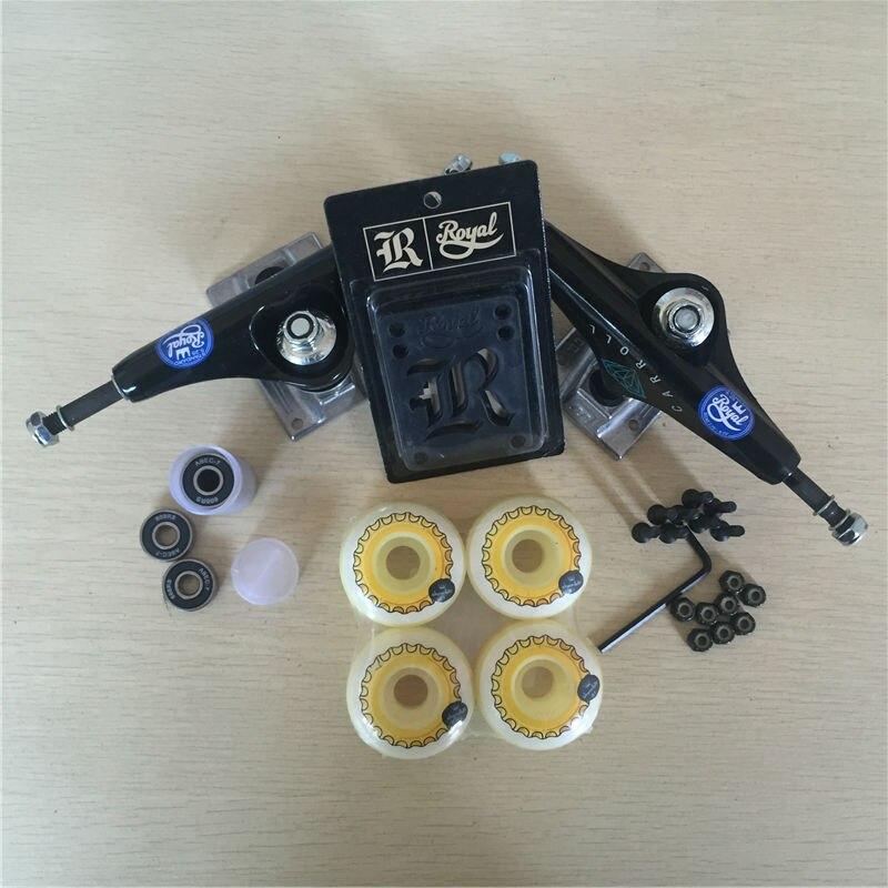 Peças de skate REAL 5.25 Caminhões Do Skate 51mm 52mm Rolamentos de Skate Rodas & ABEC 7 Plus Royal Almofadas de Riser & UM Conjunto de Hardware - 3