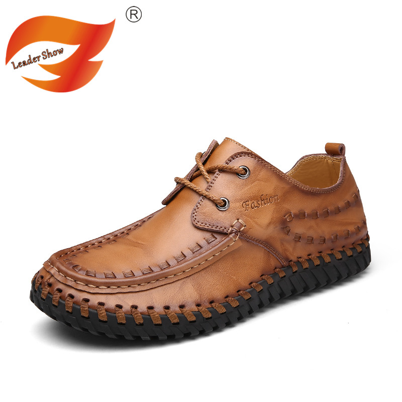 Leader Show Autumn Loafers Men Casual Genuine Leather Shoes Fashion Handmade Flats Shoes Male Comfortable Driving Moccasins men s genuine leather casual shoes handmade loafers for male men waterproof flat driving shoes flats