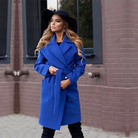 MVGIRLRU Elegant Woman coats autumn lapel long coat slim type lined belted jackets Female outerwear