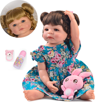 KEIUMI 23 Inch Fashion Reborn Girl bebe Doll Full Body Silicone Realistic Princess Baby Doll For Kids Xmas Gifts two hair color