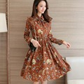 Floral A-Line Dress Newest 2017 Fashion Turn-down Collar Long Sleeve Women Vintage Spring Dresses Chiffon Dress