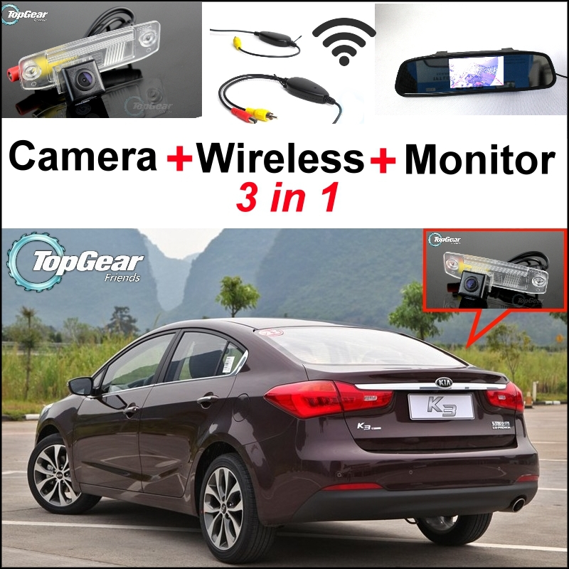 3 in1 Special Rear View Camera + Wireless Receiver + Mirror Monitor Back Up Parking System For KIA Forte K3 Cerato 2012~2015 for ford escape maverick mariner car parking sensors rear view back up camera 2 in 1 visual alarm parking system