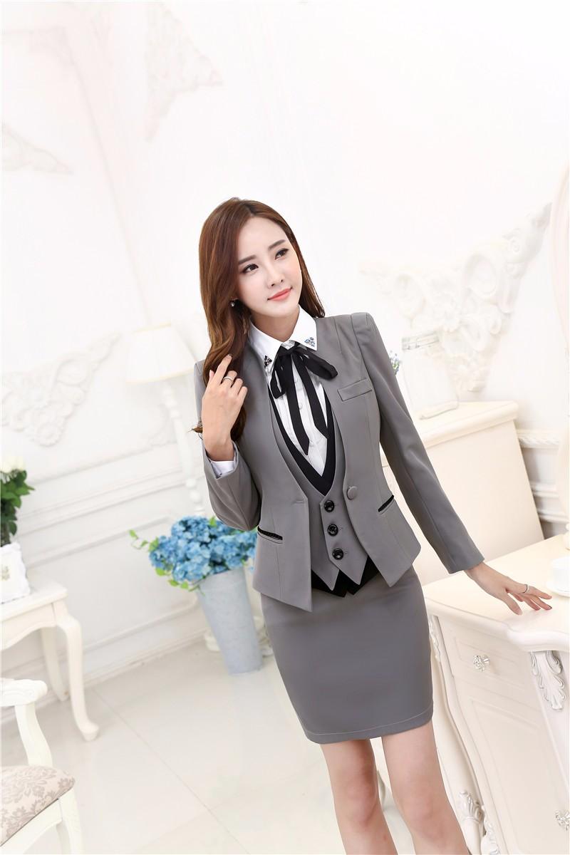 1ef9e3f5a9aeb Plus Size Autumn Winter Formal Professional Business Suits 3 pieces ...