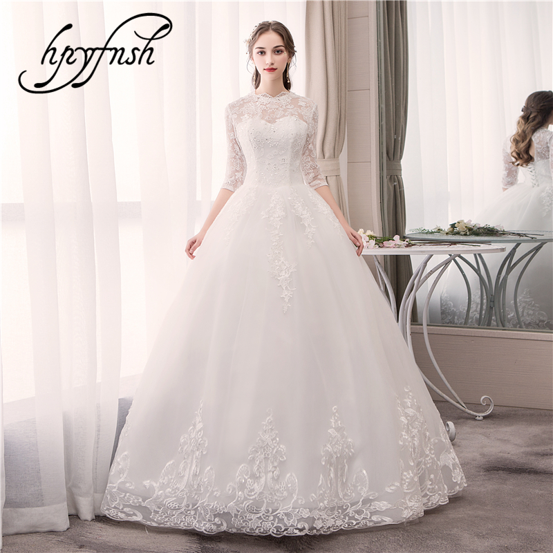 Real photo Luxury Lace Embroidery 2019 Wedding Dress Half Sleeve Floor Sweetheart Elegant Plus Size Bride Gowns Vestido De Noiva-in Wedding Dresses from Weddings & Events    1