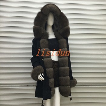 2018 Real fur coat fox parkas winter jacket coat women parka big real raccoon fur collar natural fox fur liner long outerwear jkp 2018 autumn and winter new stars with the same coat genuine rabbit fur coat big raccoon fur collar children s jacket ct 16