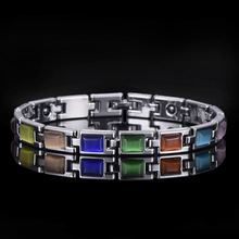 platinum plated cat eye stone turquoise,hand ornaments,womens Europe and America selling zinc alloy health bracelet