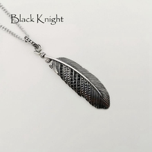 Black Knight Vintage silver color Black CZ stones Feather pendant necklace Stainless steel mens chic feather necklace BLKN0779 vintage feather necklace
