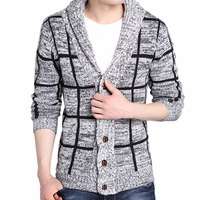Men S Cardigan Sweater Jumper Cable Knit Shawl Collar Fleece Coat Long Sleeve V Neck Front
