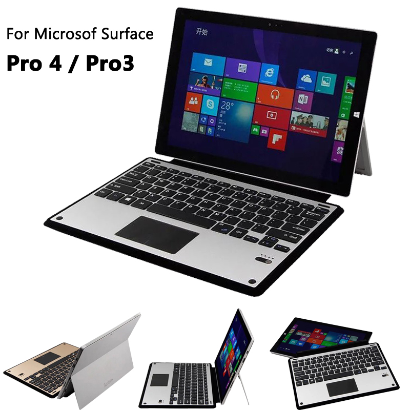 TOP Quality Aluminium Bluetooth Keyboard Portfolio Stand Cover Case for Microsof Surface Pro 4 / Pro 3 tablet case shell