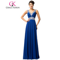 Blue Bridesmaid Dresses Grace Karin Pretty Floor Length Long Vestido De Festa Beadings Celebrity Gown Formal