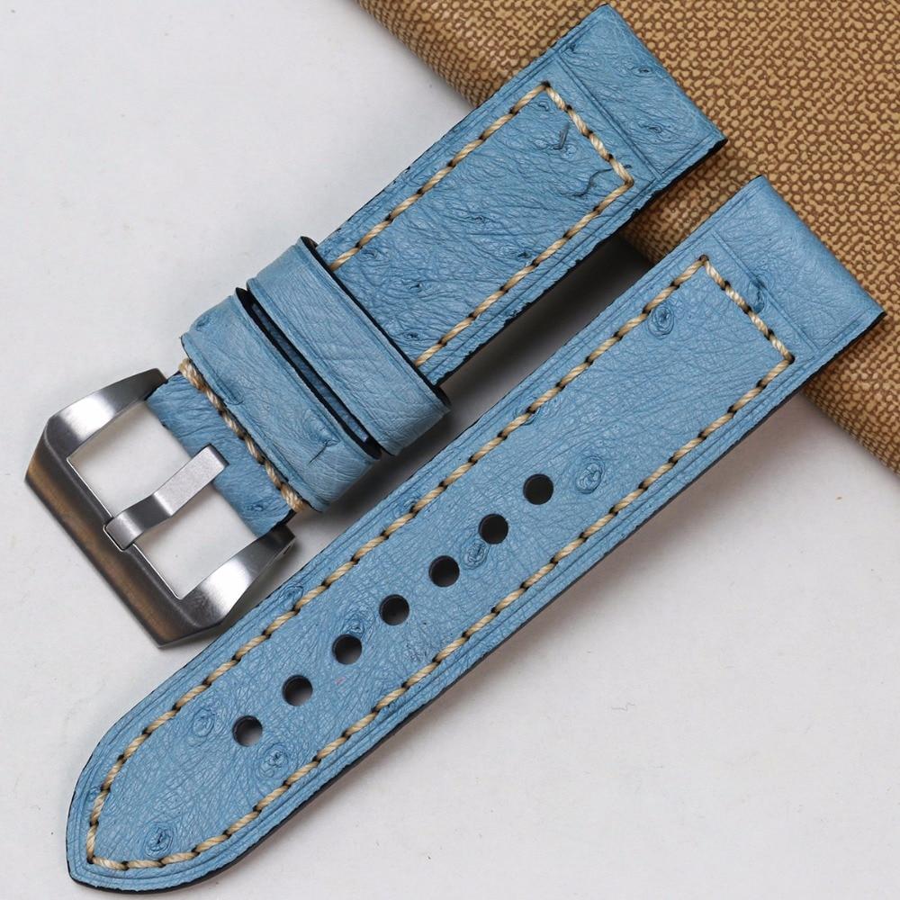 Pesno Africa Echtes Straußenleder Uhrenarmband Schwarz Braun Grau - Uhrenzubehör - Foto 5