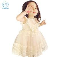 2016 Summer Girls Dress Korean Cute Sleeveless Ball Gown Lace Princess Dress Baby Kids Cotton Clothes