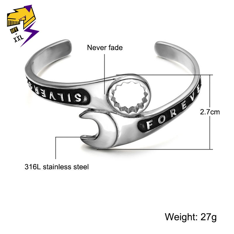 8b67e52e5d9ca Punk Biker Wrench Tools Bangle Vintage Men Stainless Steel Wrench Mechanic  Spanner Bangle Wristband Cuff Bracelet-in Bangles from Jewelry & ...