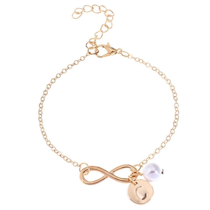 Pulsera Infinity de Color dorado personalizada letra inicial perla encanto playa pulsera Pulseras Mujer joyería fiesta regalos