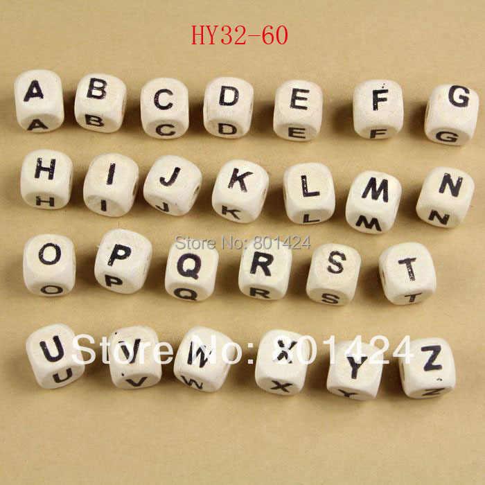 """100 шт смешанные деревянные буквы/Алфавит бусины буквы &quotA z"""" кубические Размер"""
