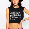 short summer women fashion new punk style unicorn mermaid to do the old curling wild letters printed sleeveless t shirt Women
