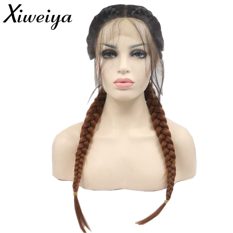 Xiweiya Twist Braids Wig With Baby Hair Ombre Black to Brown Ponytail Synthetic Lace Front Wigs For Women Heat Resistant Fiber