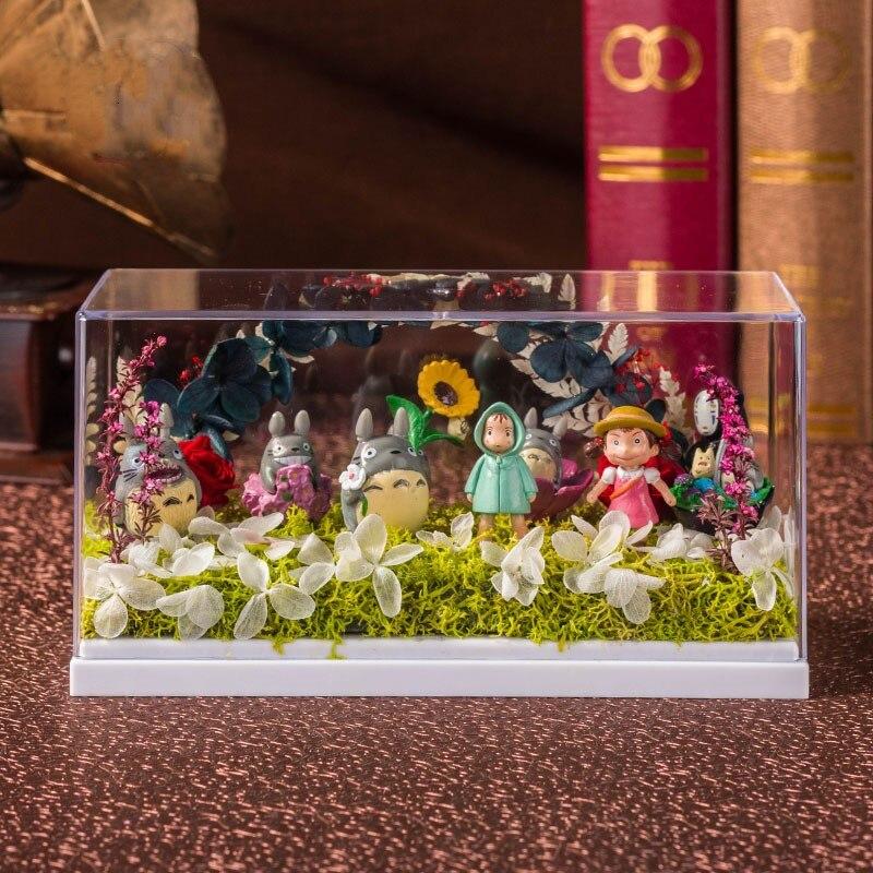 Tonari no Totoro Grass Wall Of Lang Grass Wall May DIY Micro View With LED Light Holiday Gift  PVC Action Figure Toy BOX D745