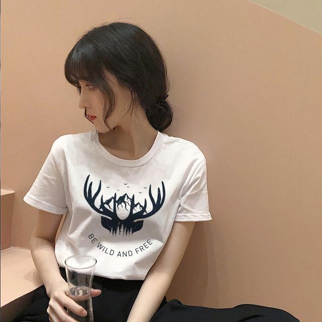 Women's fashion cartoon printed letter short-sleeved casual T-shirt shirt 2