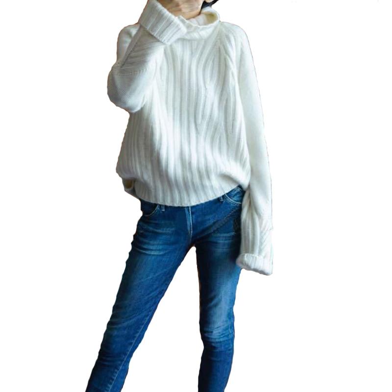 Pura Femenina Alto Nuevo Base marrón Coreana De Otoño Suelta Cachemira Punto Invierno blanco Beige 2018 Cuello Engrosada caqui nqI0w1E8