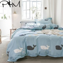 PAPA&MIMA Cartoon Black and white whale print bedding sets cotton Twin Queen Size duvet cover bedsheet pillowcases drop shipping