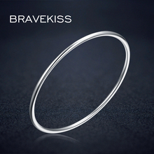 BRAVEKISS, Стерлинговое серебро 925, браслет для женщин, обруч, манжета, браслет для девочек, Pulseiras, рождественский подарок, ювелирное изделие BLB0080