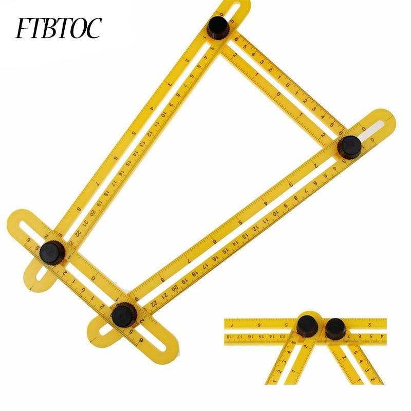 FTBTOC Four Folding Plastic Ruler Multifunctional Measuring Instrument Four-Sided Ruler Mechanism Slide Square Tool 3 Color