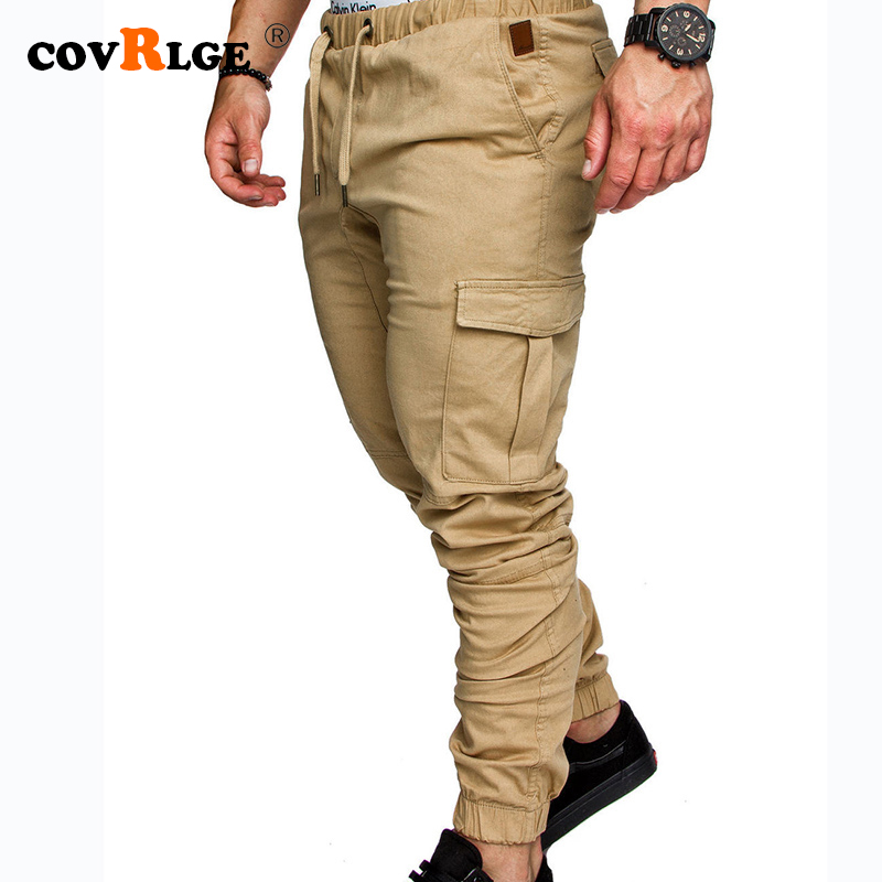 Covrlge 2019 Spring New Men's Solid Color Casual Tether Elastic Sports Trousers Youth FashionTrousers MKX040