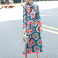 flowers print blouse top and knee length women's fashion skirt green flowers print clothing set 1102