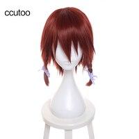Ccutoo 35 см himekami Аканэ каштановые короткие из кос Косплэй парик Детский костюм для вечеринок Синтетические волосы парик Термостойкость
