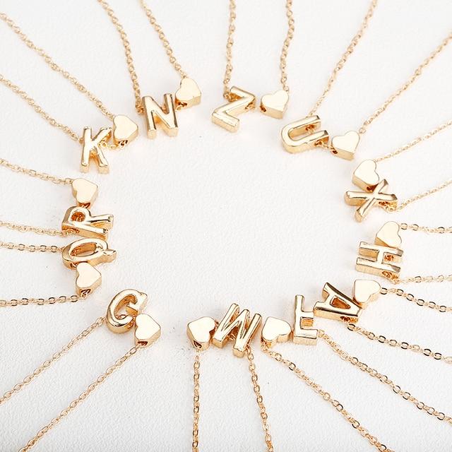 Minúsculo colar de ouro letra inicial de ouro colar iniciais nome colares pingente Personalizado para mulheres meninas. melhor presente de aniversário