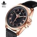 Bgg marca venta caliente ripple mens relojes número romano de cuarzo de negocios a prueba de agua reloj de los hombres de cuero genuino reloj casual reloj