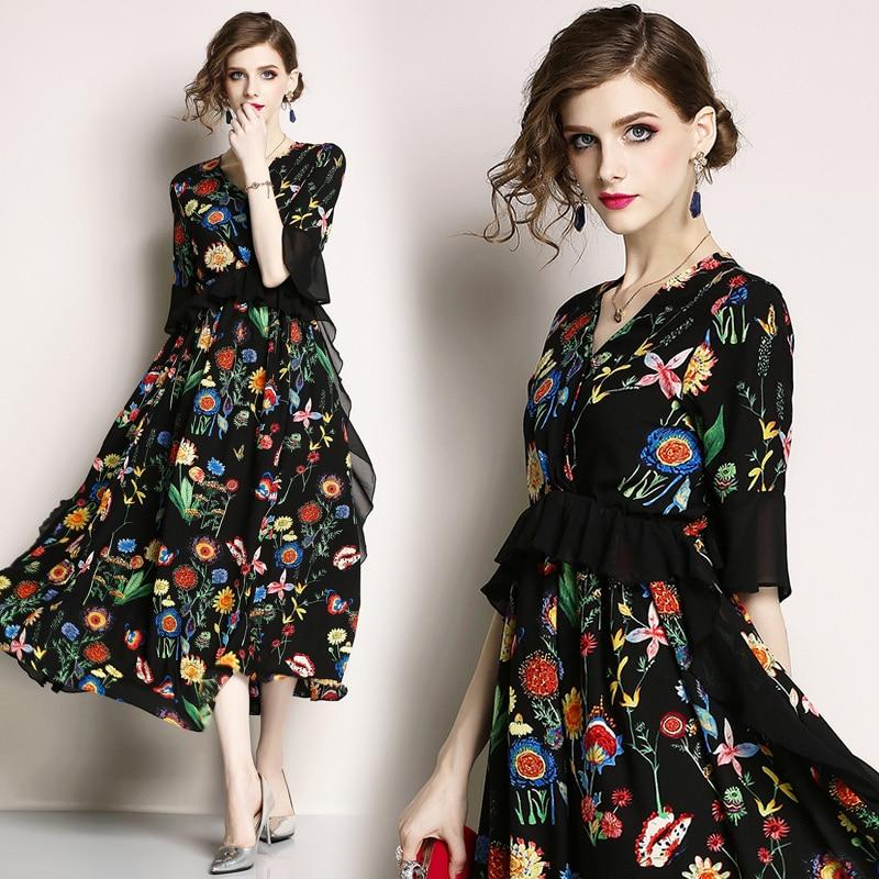 2019 nouveau printemps automne femmes robe Vintage rétro graphique imprimé plissé ourlet chemise robe en mousseline de soie Maxi Boho robes Vestidos Femme