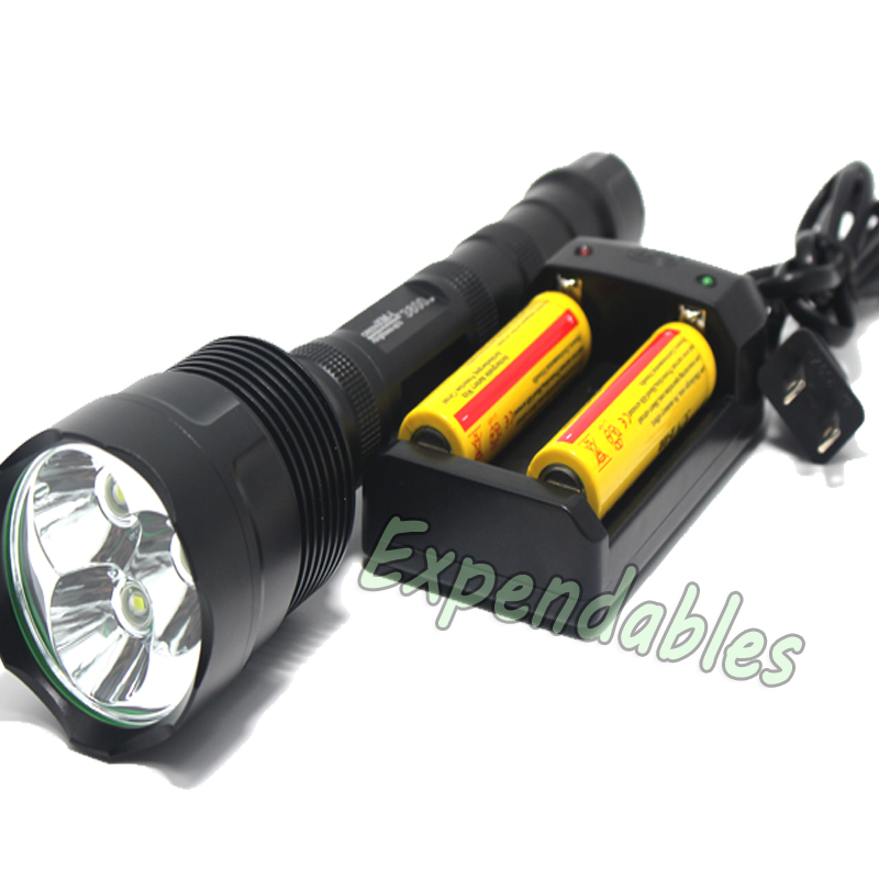 3T6 3800 lumens flashlight 3 x CREE XM-L 5-Mode 3 * Cree LED Flashlight Torch Lamp Torch + 2x 18650 5000 mah battery+charger zk35 cree xm l 3800 lm q5 led flashlight torch zoomable light black led bicycle light with battery and charger holder