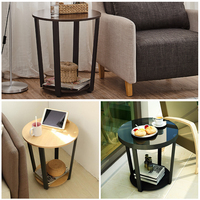 Modern Metal Side Table Sofa Edge Mini Tea Table, Living Room Iron Glass Small Round Table Coffee Table