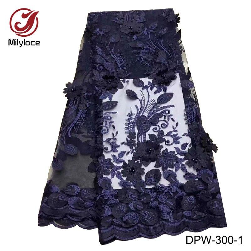 Hot selling 3d bloem borduren kralen tulle lace stof hoge kwaliteit afrikaanse kant stof franse tissue materiaal DPW 300-in Kant van Huis & Tuin op  Groep 1