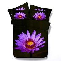 100% Cotton Flower Pattern Bedding Set Black/Pure/Beige Duvet Cover Kids/Adult Home Textile3/4PC Twin/King/Queen/Super King Size