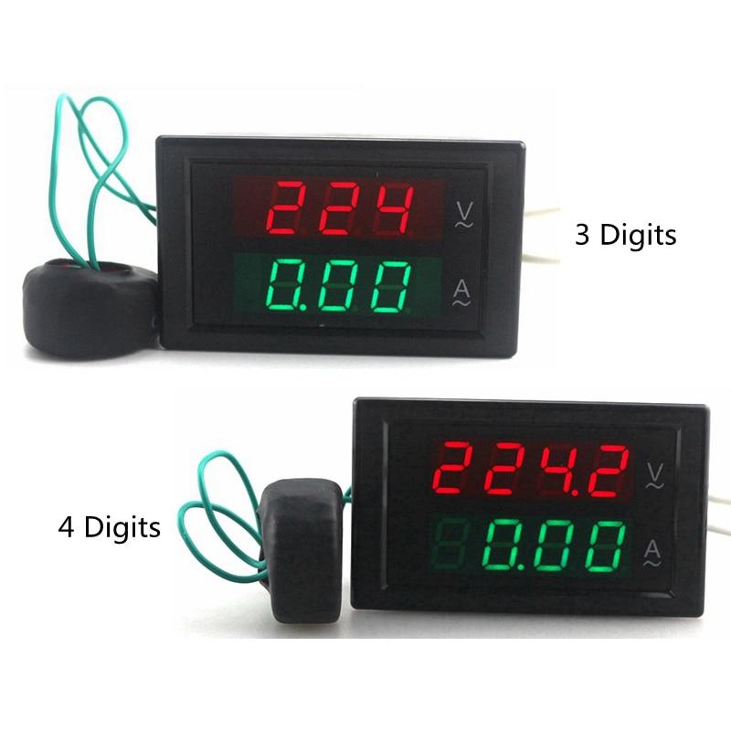 Digitális váltóáramú voltmérő Ampermérő Ampermeter AC 80-300V 0-100A Led Voltos erősárammérő Feszültségmérő Ampere panelmérő