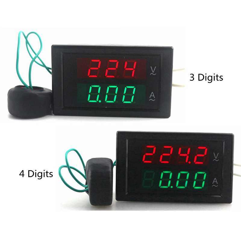 Цифровой амперметр переменного тока, амперметр 80-300 В переменного тока 0-100A, светодиодный вольтметр, измеритель напряжения, измеритель тока, ...