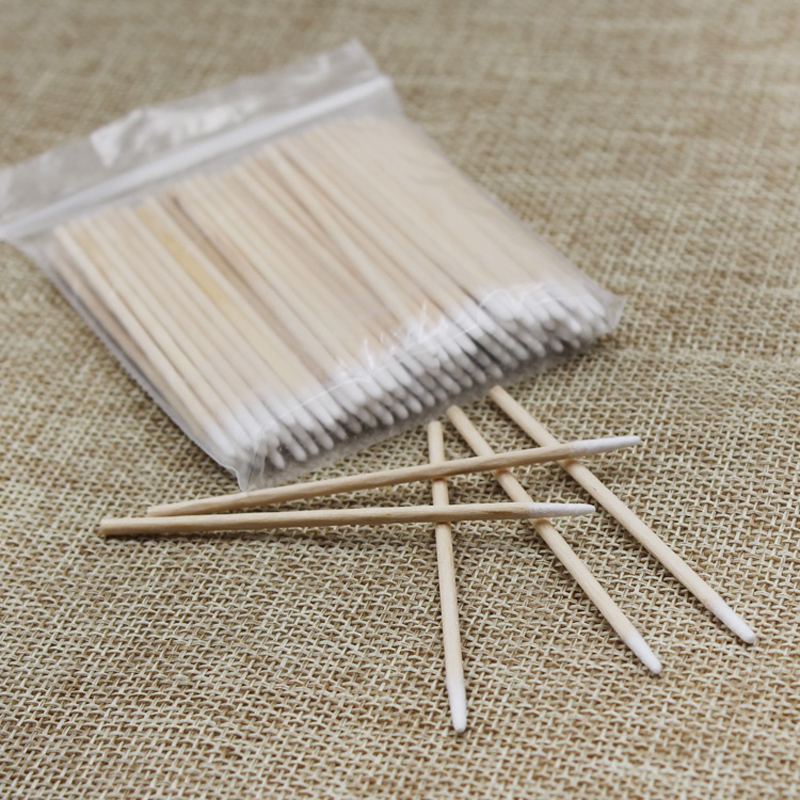 100 Pcs/lot Pointed Wood Cotton Head Tattoo Sticks Dedicated Clean Cotton Swab Stick For Pro Eyebrow Lip Tattoo Beauty Makeup