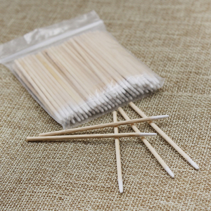 Image 1 - 100 Pcs/lot Pointed Wood Cotton Head Tattoo Sticks Dedicated Clean Cotton Swab Stick for Pro Eyebrow Lip tattoo Beauty Makeup