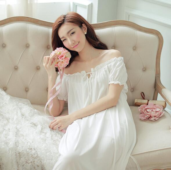 New Feminino Longa Camisola Mulheres Sleepwear Roupa Em Casa Branca-style Palácio Vestido de Babados Sexy Vintage Vestidos S47