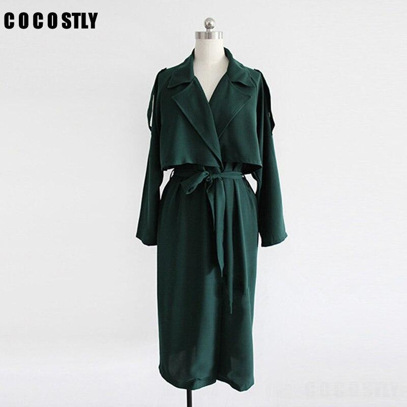 Autumn Trench Coat For Women Turn Down Collar Womens Trench Coats Kroea Style Long Coat Female Womens X-Long Windbreakers