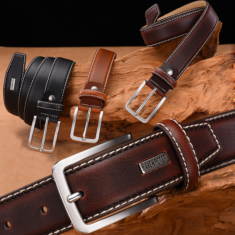 Fashion Men Belts Genuine Leather Luxury Designer Brown Vintage Waist Belt  For Jeans Cinturon Cowboy Hombre Dropshipping|Men's Belts| - AliExpress