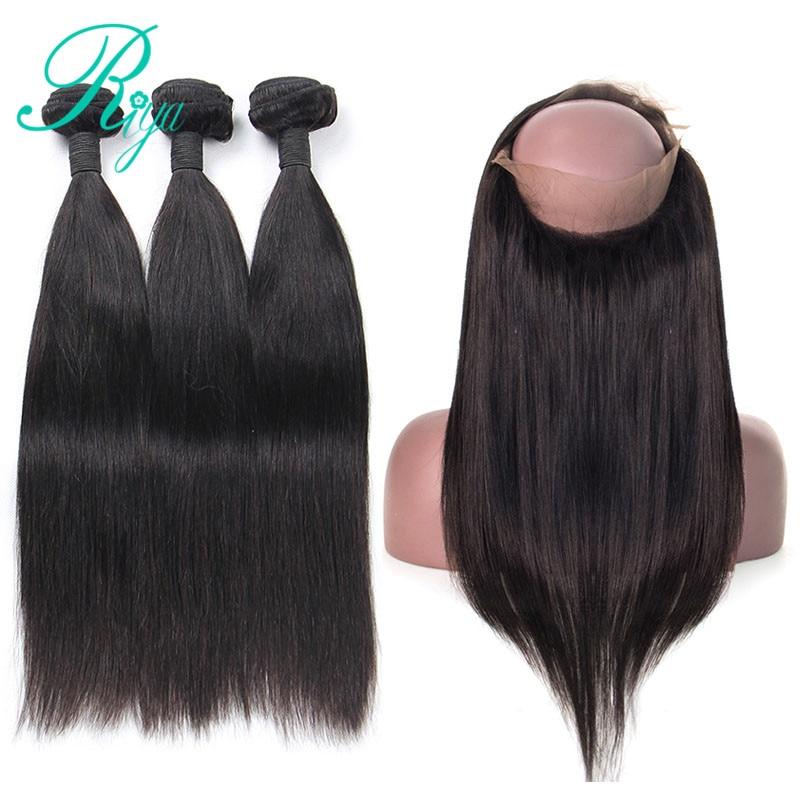 Riya Hair Malaysia Straight Hair Remy 3/ 4 Bundles With 360 Lace Frontal 100% Human Hair Wave Bundles With Closure 3/4 Bundles With Closure Human Hair Weaves